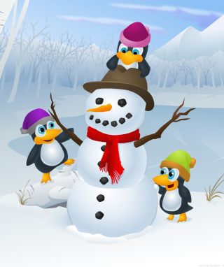 Picture of snowman and cute penguins to celebrate the holidays