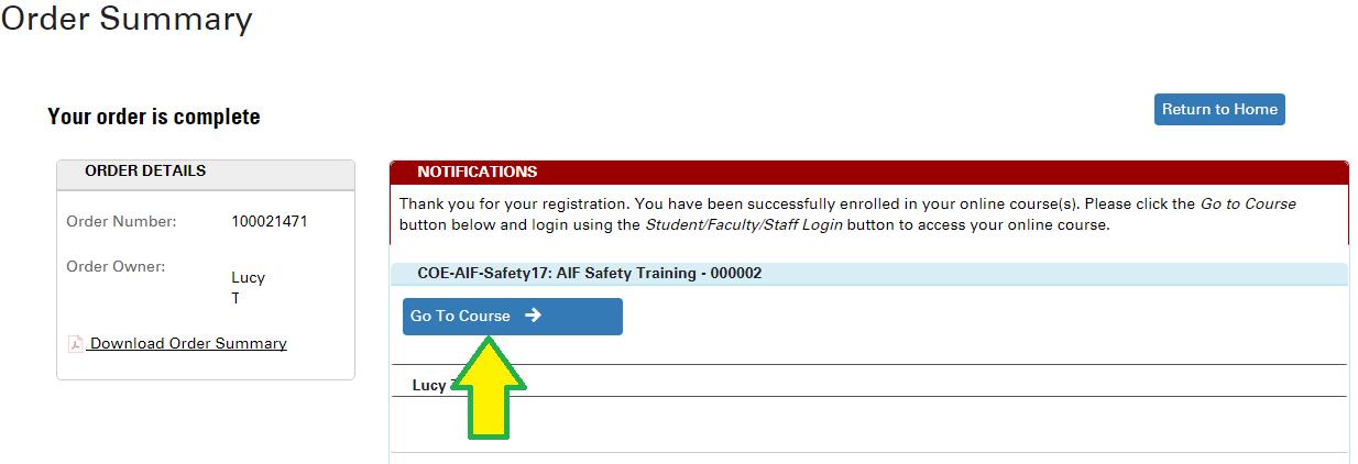 go to course button